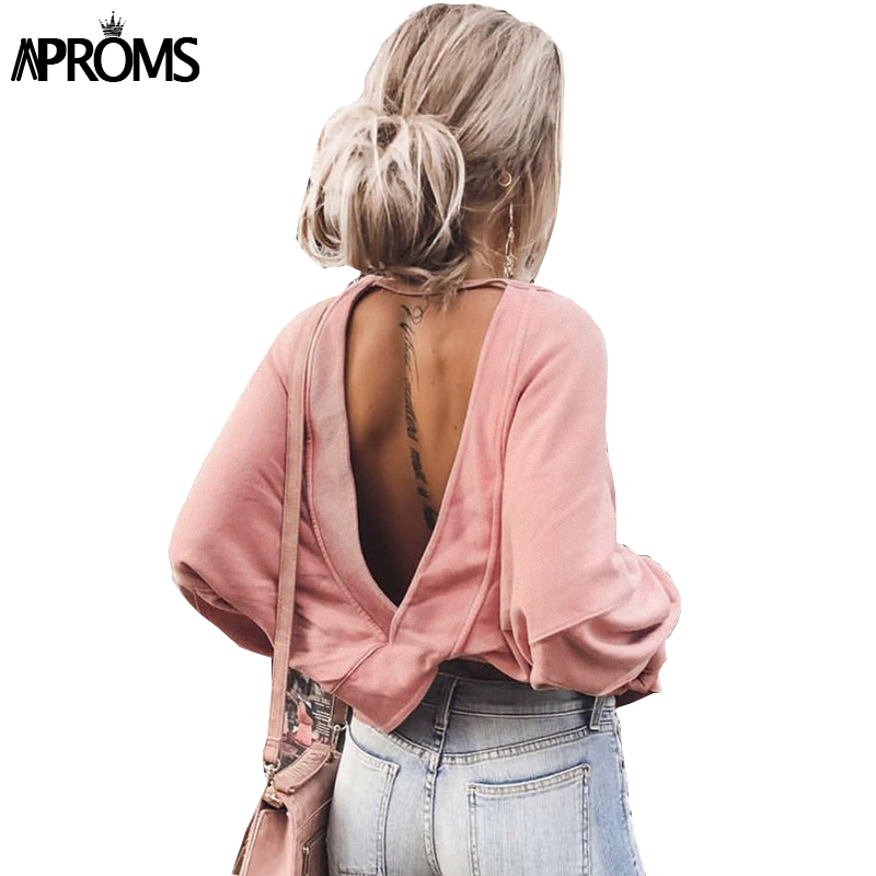 Aproms Solid Color Long Sleeve T-Shirt Women Fashion 2019 Backless Criss Cross Loose T Shirt Autumn Streetwear Casual Tops Tee