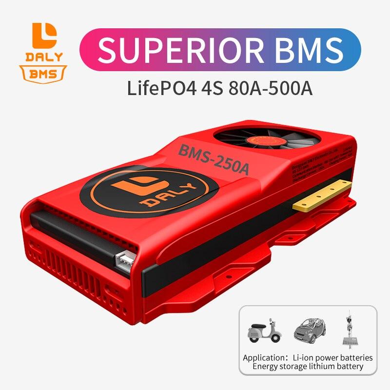 Daly BMS port commun avec balance Lifepo4 4S bms 12V 80A 100A 120A 150A 200A 250A 300A 400A 500A pour solaire avec ventilateur