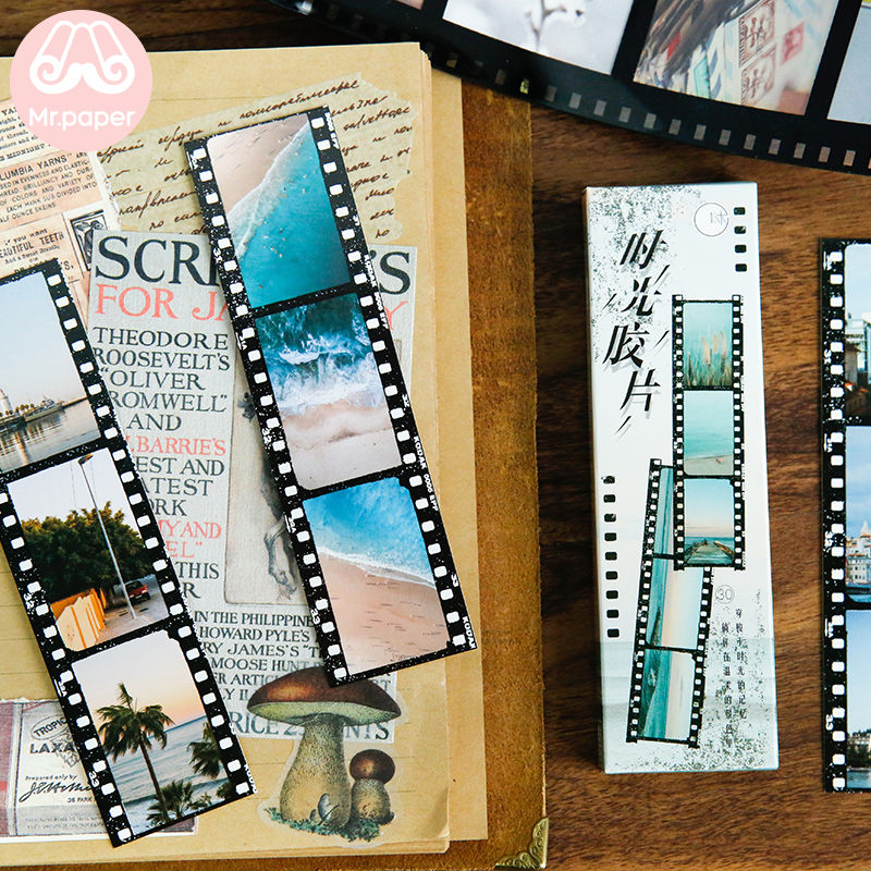 Mr Paper 30pcs/box Creative Time Memory Lm Fiche Scenery Film Bookmarks For Novelty Book Reading Maker Page Paper Bookmarks