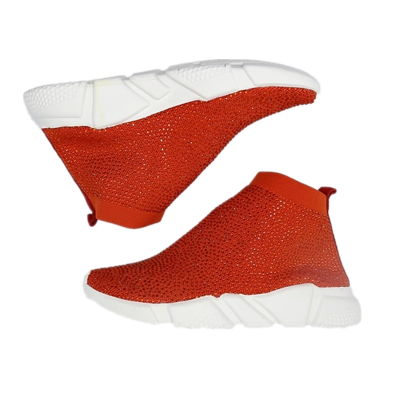 بلينغ حذاء امرأة حجر الراين الكريستال جورب الأحذية المرأة تفلكن الأحذية الفاخرة العلامة التجارية امرأة تنفس السيدات منصة حذاء رياضة-في أحذية نسائية مسطحة من أحذية على  مجموعة 2