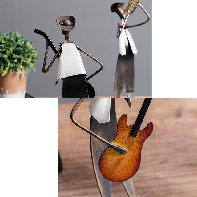 European Metal Iron Man Music Band Figurines Musical Instrument Decor Ornaments Drummer Guitar Home Furnishing Accessories Gift 5