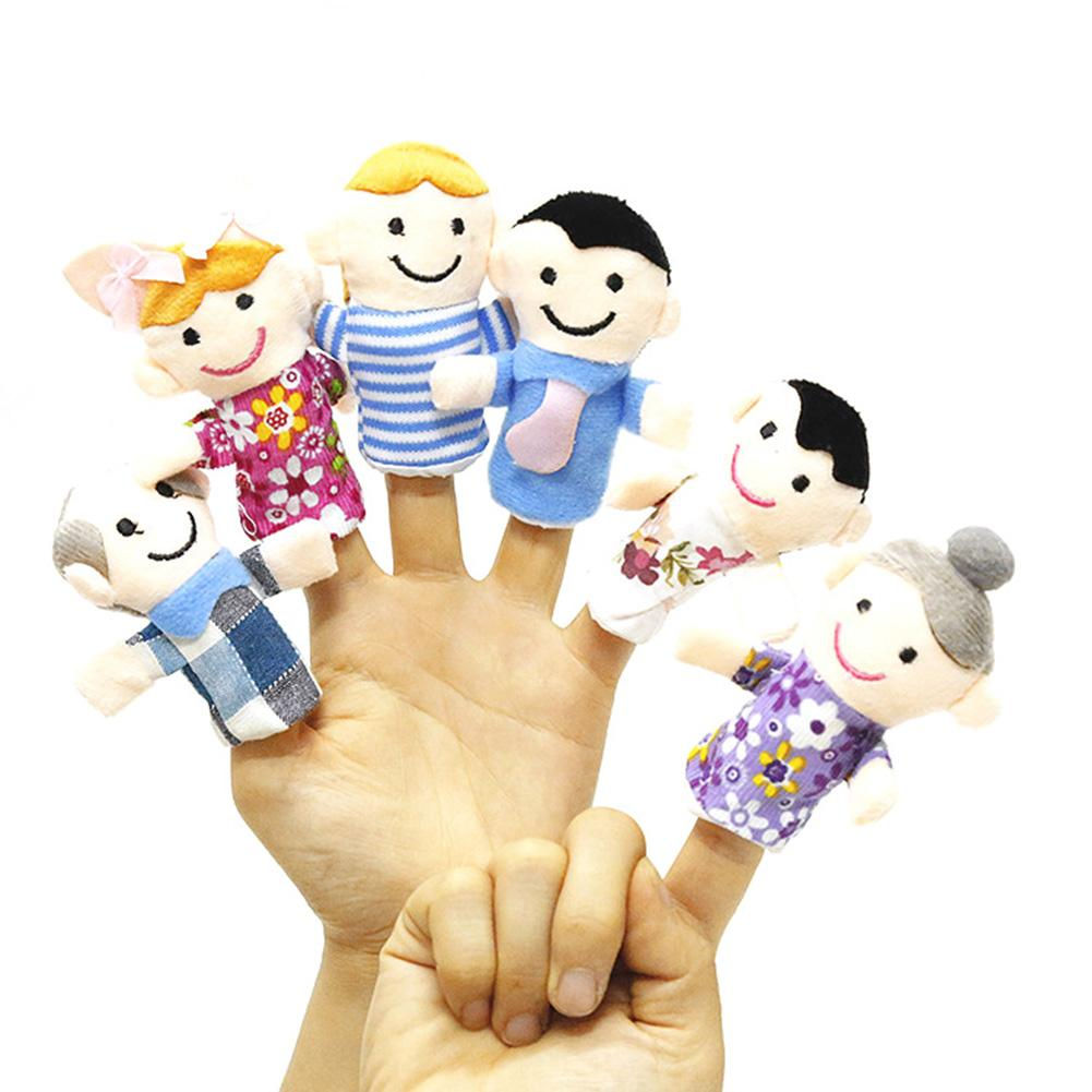 6Pcs/Set Cute One Family Plush Finger Puppet Toy Educational Hand Toy Storyr Telling Props Toy