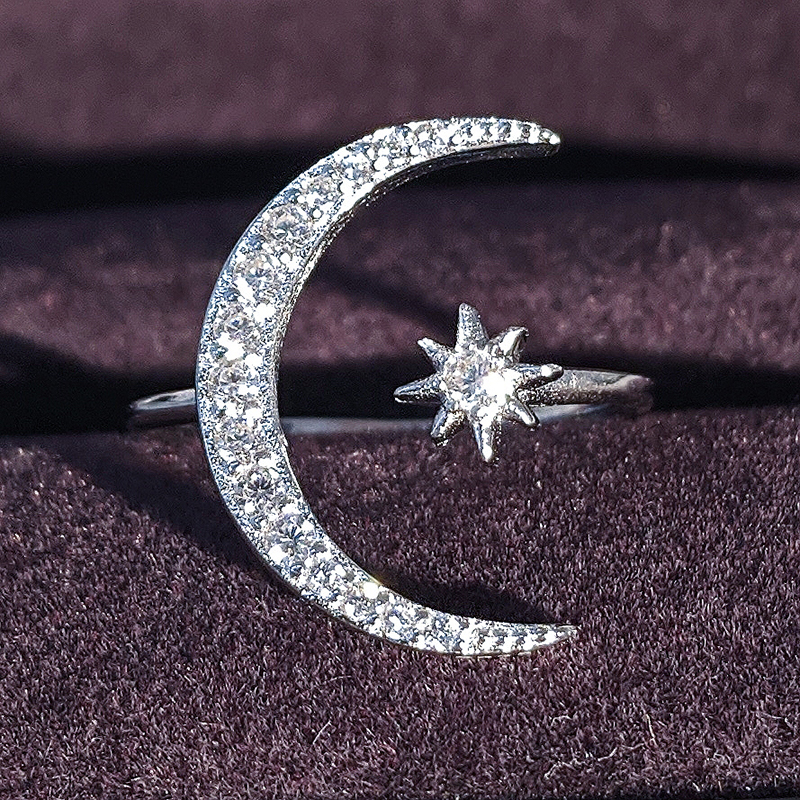 Sterling Silver Rings Star /& Moon I Love You to The Moon and Back Open Ring for Women Anniversary Cocktail Jewelry