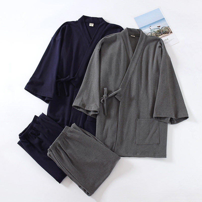 Winter Warm Scuba Kimono Robes Mens Pure Color Japanese Thicken Keep Warm Cotton Pajamas,JH RBS Gray,L