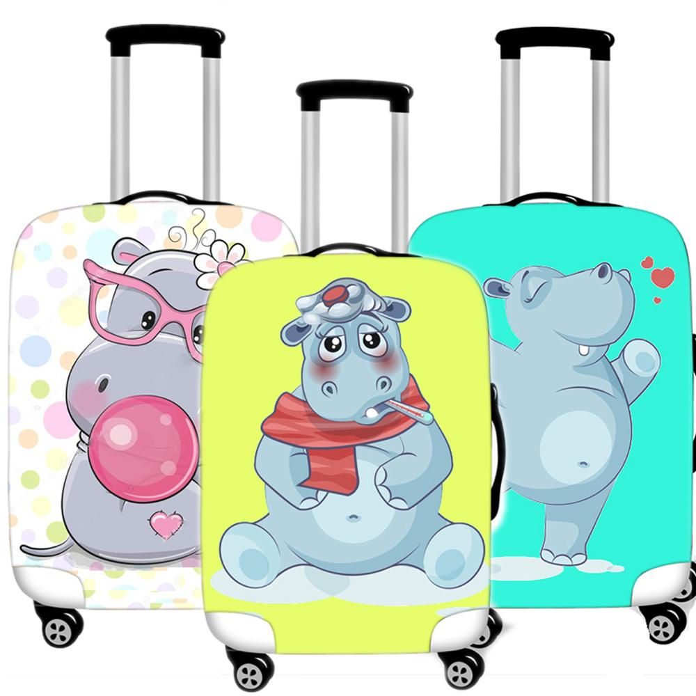 Kawaii Hippo Luggage Case Protective Cover Waterproof Thicken Elastic Suitcase Dust Case Apply 18 - 32 Inches Travel Accessorie