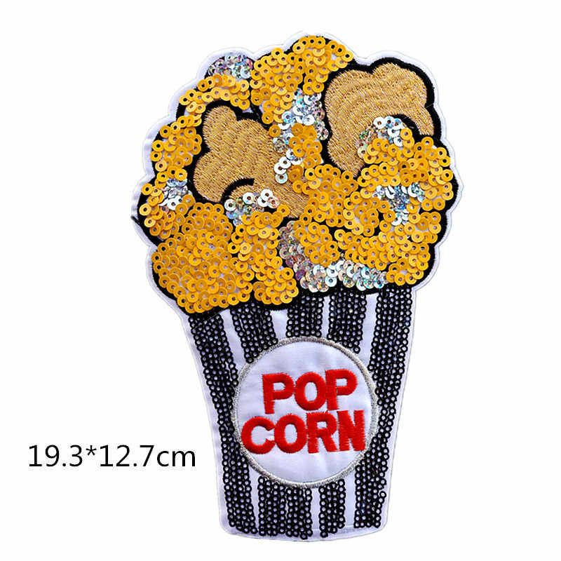 new arrival Fashion Patch Large Cartoon Ice cream Sequins Diy Women Embroidery iron on Patches for Clothing Applique Stickers