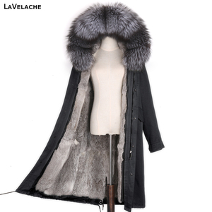 Casual women winter coat X-long waterproof jacket real rex rabbit fur liner natural raccoon fur collar hooded woman streetwear