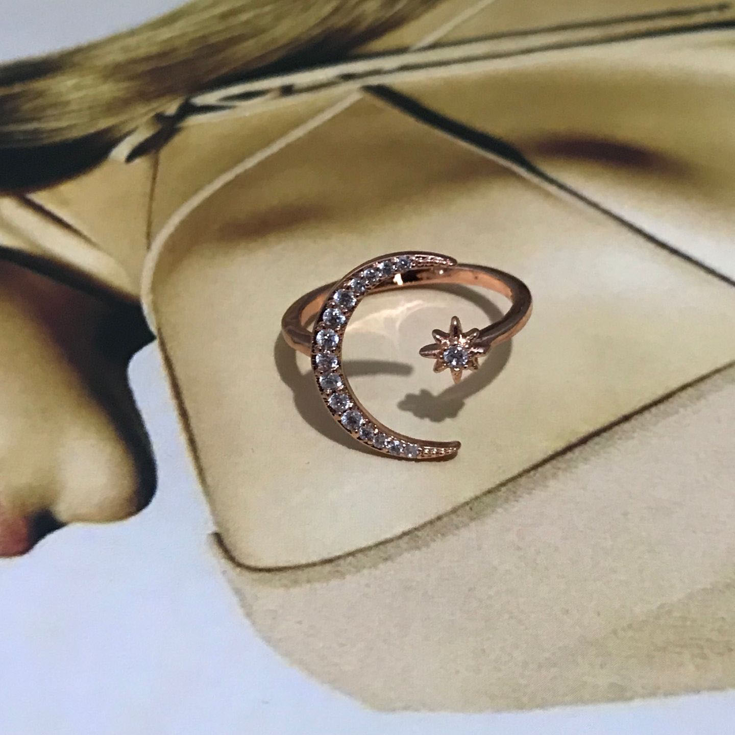 Classy Crescent Crystal Ring 1