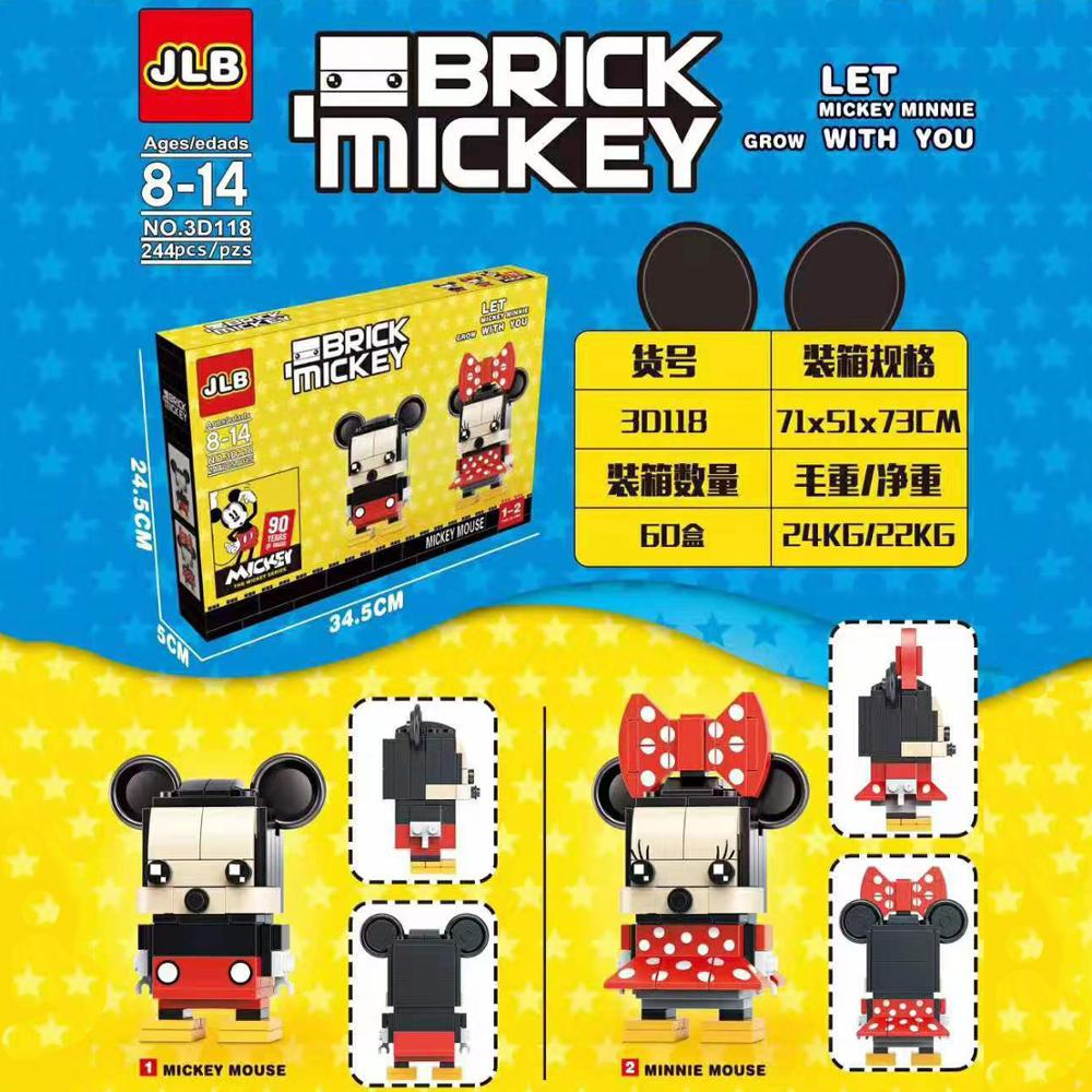 2019 new Kennie DIY Building Blocks miki miny mouse Action Figure Brickheadz with 41624 41625(China)
