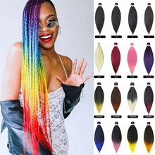 Extensiones de cabello trenzado preestirado, paquete de cabello trenzado de ganchillo fácil, Yaki, recto, ombré, Soku, caja sintética, trenzas Afro