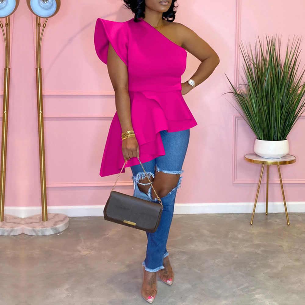 Sexy Een Schouder Blouse Tops Hoge Taille Rose Rode Lange Shirts Vrouwelijke Elegante Partij Diner Club Blouse Tops Shirts 2020 afrikaanse