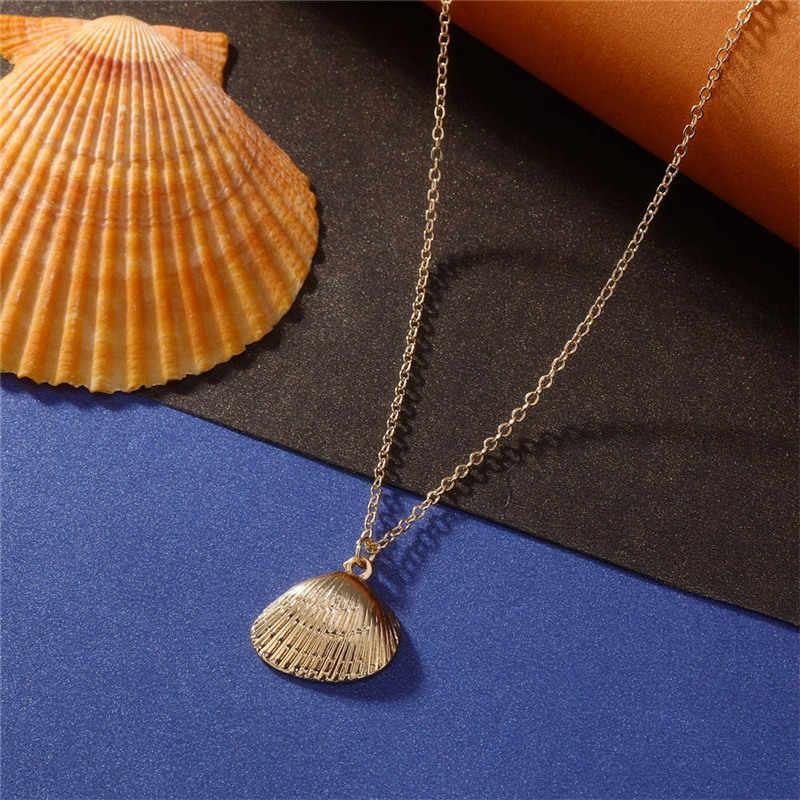 2019 אופנה חדשה זהב סגסוגת Cowrie מעטפת שרשרת לנשים קונכייה שרשרת תליון שרשרת קיץ אוקיינוס כוכב ים תכשיטי צווארון