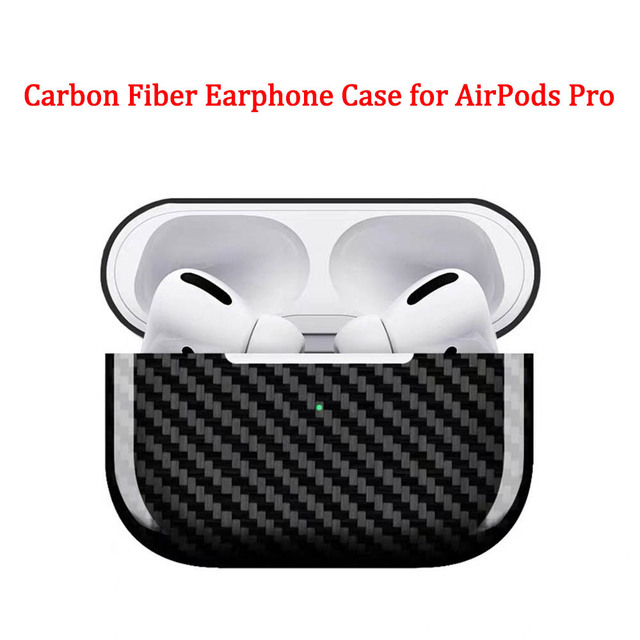 Carbon Fiber Oortelefoon Case Cover Voor Apple Airpods Pro Case 2019 Real Carbon Fiber Led Draadloze Koptelefoon Opladen Box Harde case
