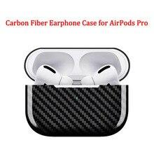 Z włókna węglowego etui na słuchawki pokrywa dla apple airpods Pro przypadku 2019 prawdziwe Carbon Fiber LED bezprzewodowy ładowanie słuchawek pudełko twarda obudowa