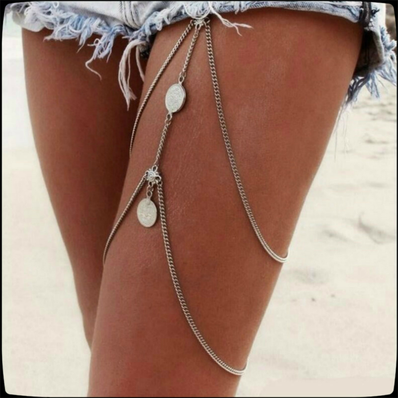 2020 New Bohemia Beach Sexy Leg Chain Women Vintage Antique Silver Color Stretchy 2 Layer Coin Thigh Chain Bikini Body Jewelry