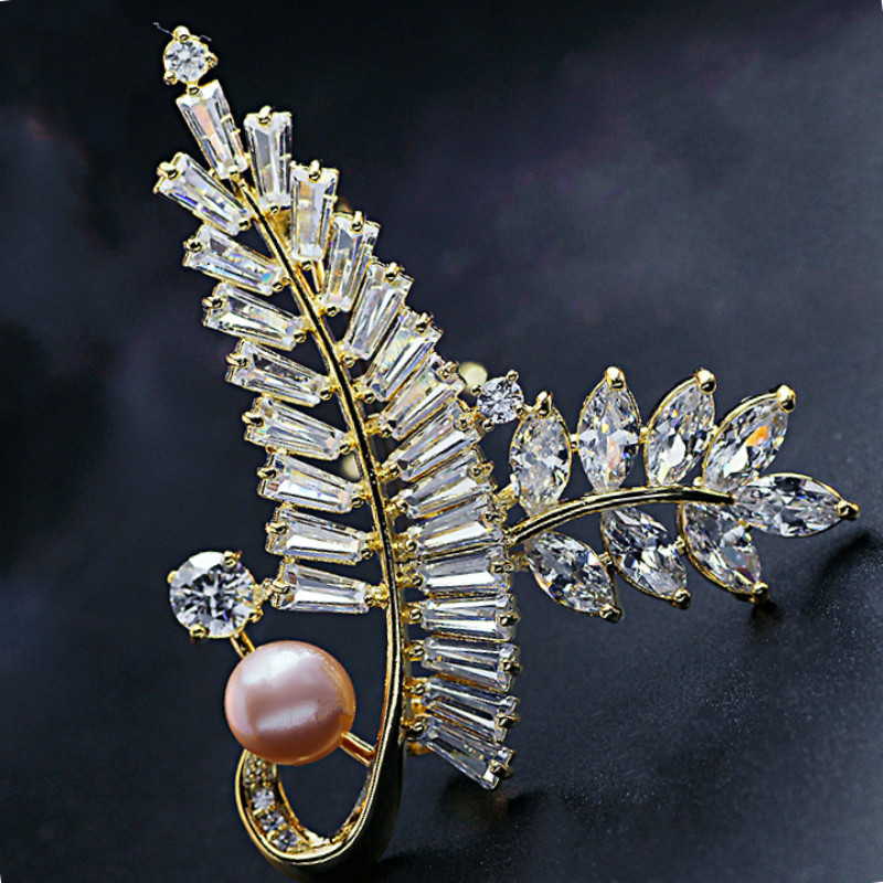 Gold And Sliver Brooch Pin for Women's Zicon Leaves Jewelry Pearl Brooches Clothes Scarf Buckle Garment Accessories Jewelry Pins-2