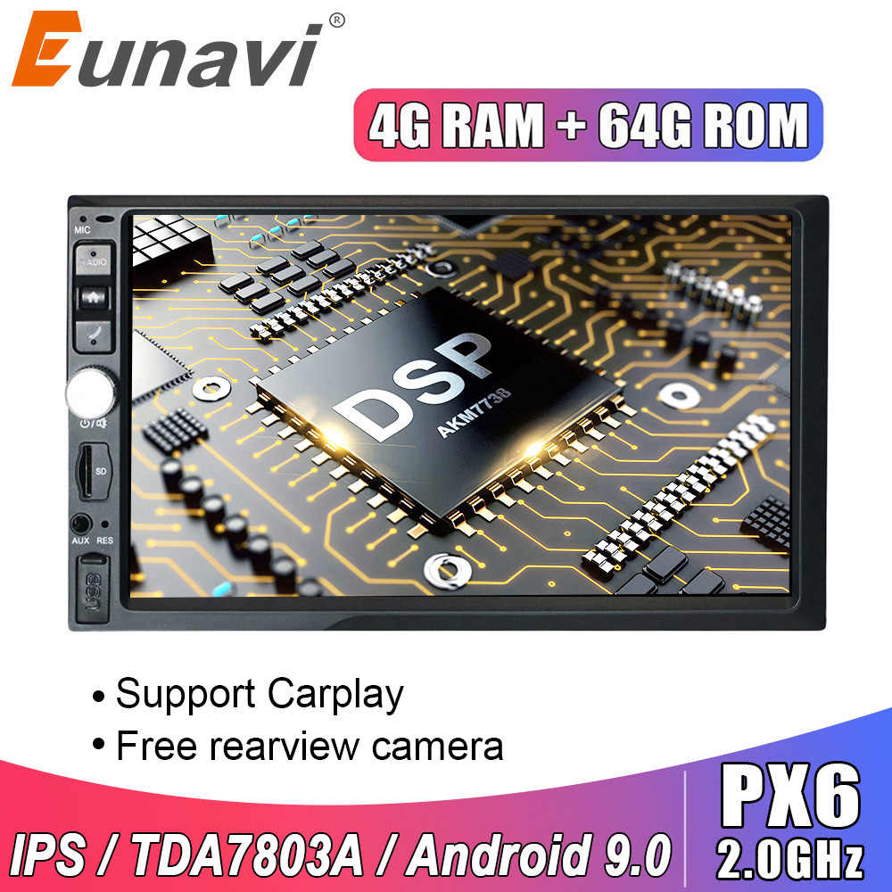 Eunavi 2 Din 7 ''Universele Android 9.0 4 Gb 64 Gb Auto Multimedia Radio Stereo Gps Navigatie Wifi Touch screen Dsp 2din Geen Dvd Cd