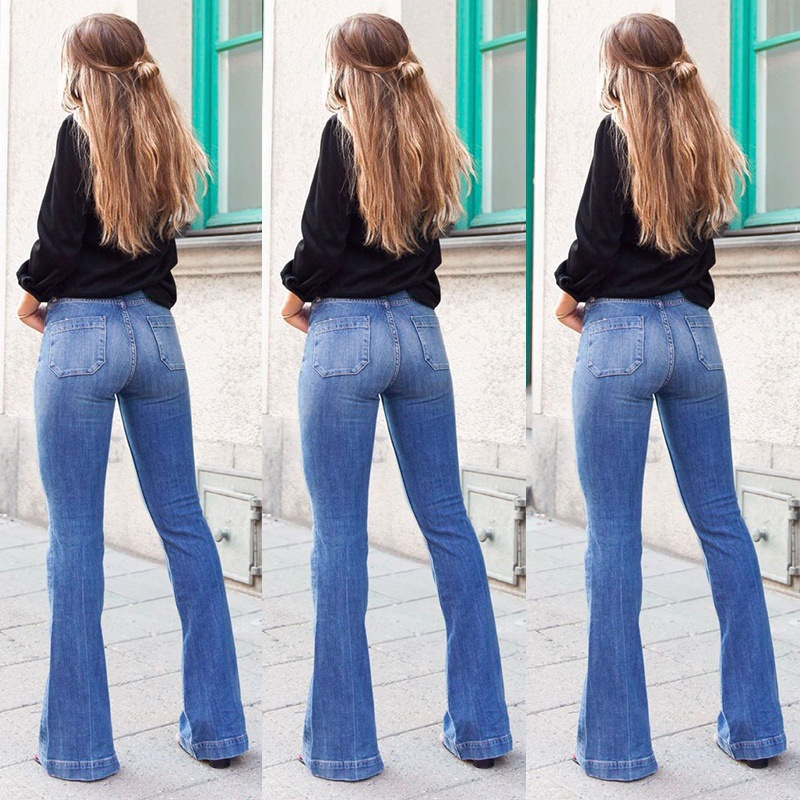 Hot Summer Jeans For Women Pants Female Slim Fit Patch Pocket Slimming High-waisted Bell-bottom Jeans Pants