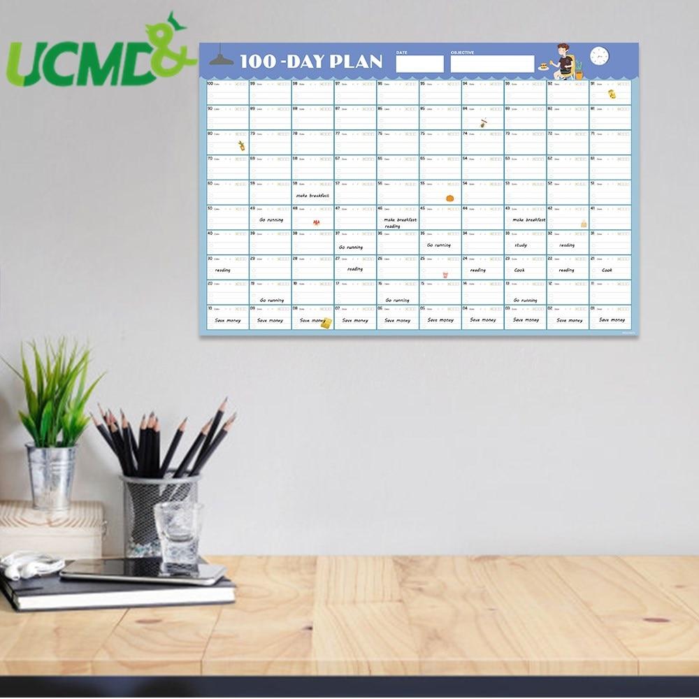 2020 diario planejador calendario de parede 100 dias diario agenda mensal agenda agenda papel apagavel criancas