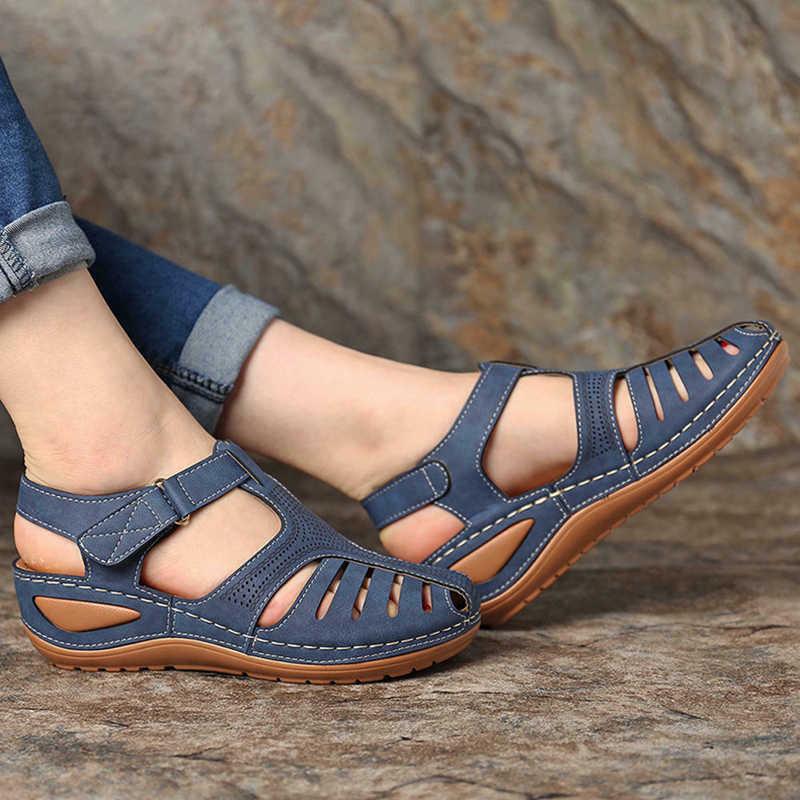 Kadın yaz Vintage kama sandalet toka rahat dikiş kadın ayakkabı kadın bayanlar platformu Retro Sandalias artı boyutu