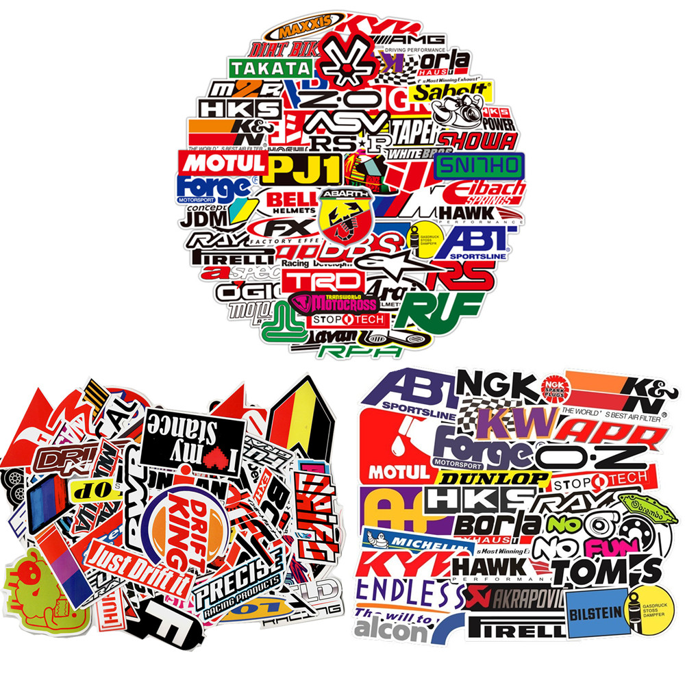 303PCS Racing Car Stickers Car Styling JDM Waterproof Sticker to DIY Motocross Racing Helmet Skateboard Bicycle Laptop Luggage