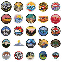 Clothing Summer Camp Embroidery Patch Ironpunk DIY Decal Clothes Sticker Sunrise Sky Ocean Forest Mountain Wave Sunflower