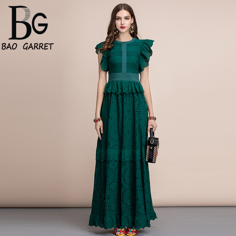 Baogarret Autumn Elegant Solid Maxi Long Dress Womens Ruffles Sleeve Front Self Belted Cotton Formal Party Dresses Gown