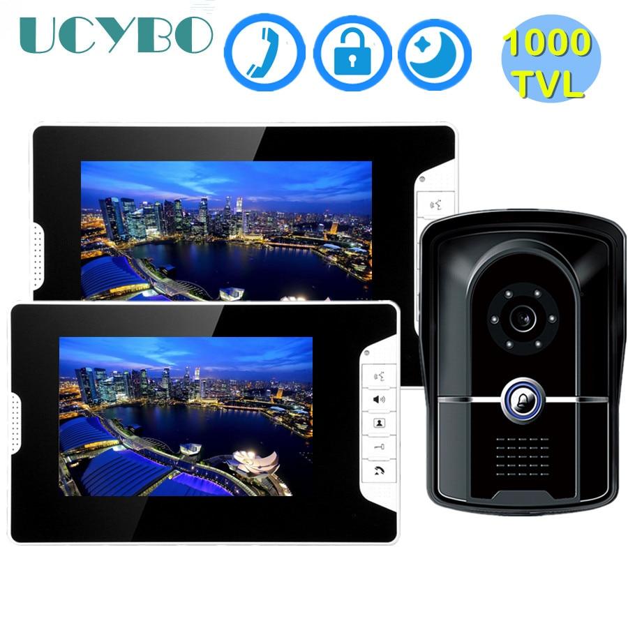 "7"" Video Intercom System Visual Speakerphone 1000TVL Infared IR Doorbell Camera Wired Video Door Phone For Home Apartment"