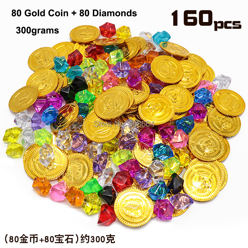 Lot <font><b>X</b></font> 160pcs A PACK Pirate Props <font><b>Treasure</b></font> Playset Gems <font><b>Toys</b></font> Gold Coins Jewelry for Pirate Party Game image