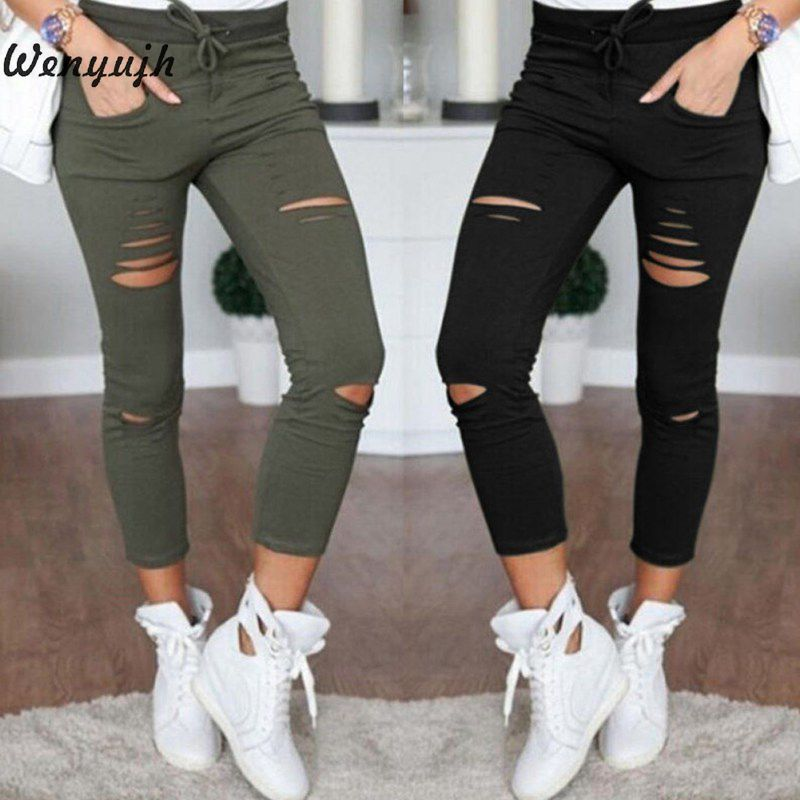 WENYUJH Trousers Black Pants Jeans Stretch Holes Skinny Ripped Knee White Casual Denim