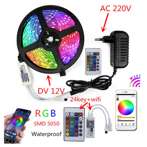 Image 5 - 220V LED Strip Light 12V RGB SMD 5050 Tape Phone APP and Remote control Waterproof flexible lights Outdoor room decoration lamp