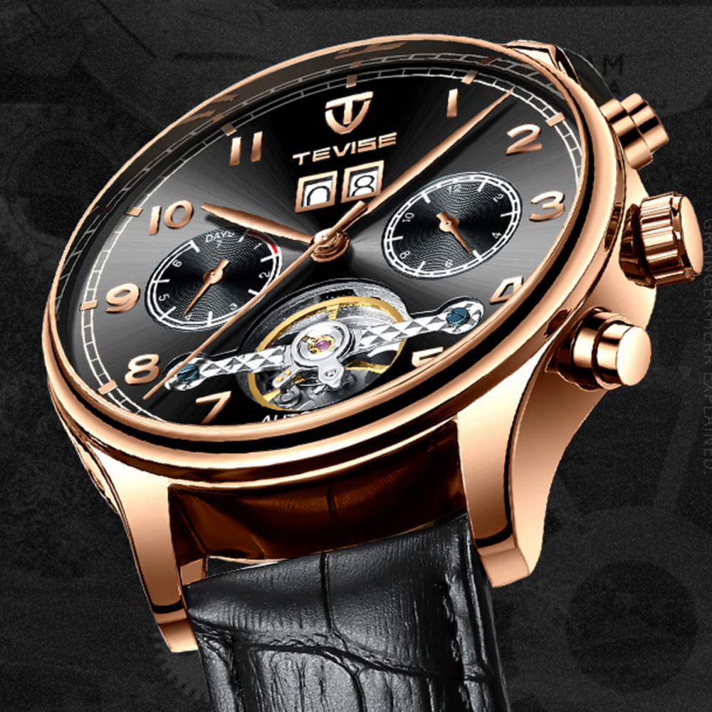 Tevise Watches Men Automatic Mechanical Watches Tourbillon Skeleton Leather Military Wristwathes Relogio Automatico Masculino Mechanical Watches     - title=