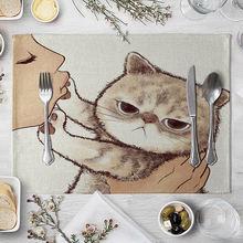 Коврики с изображением кошек льняные коврики для стола детской
