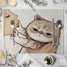 Cats Place Mats Cat Linen Table Mat Cute Cat Cartoon Animal Pattern Placemats for Children Kids Kitchen Dinning Place Mats Pads