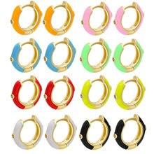 1 par pequenos brincos de argola feminino colorido esmalte mini brinco neon círculo redondo jóias aretes delicado huggie branco rosa vermelho