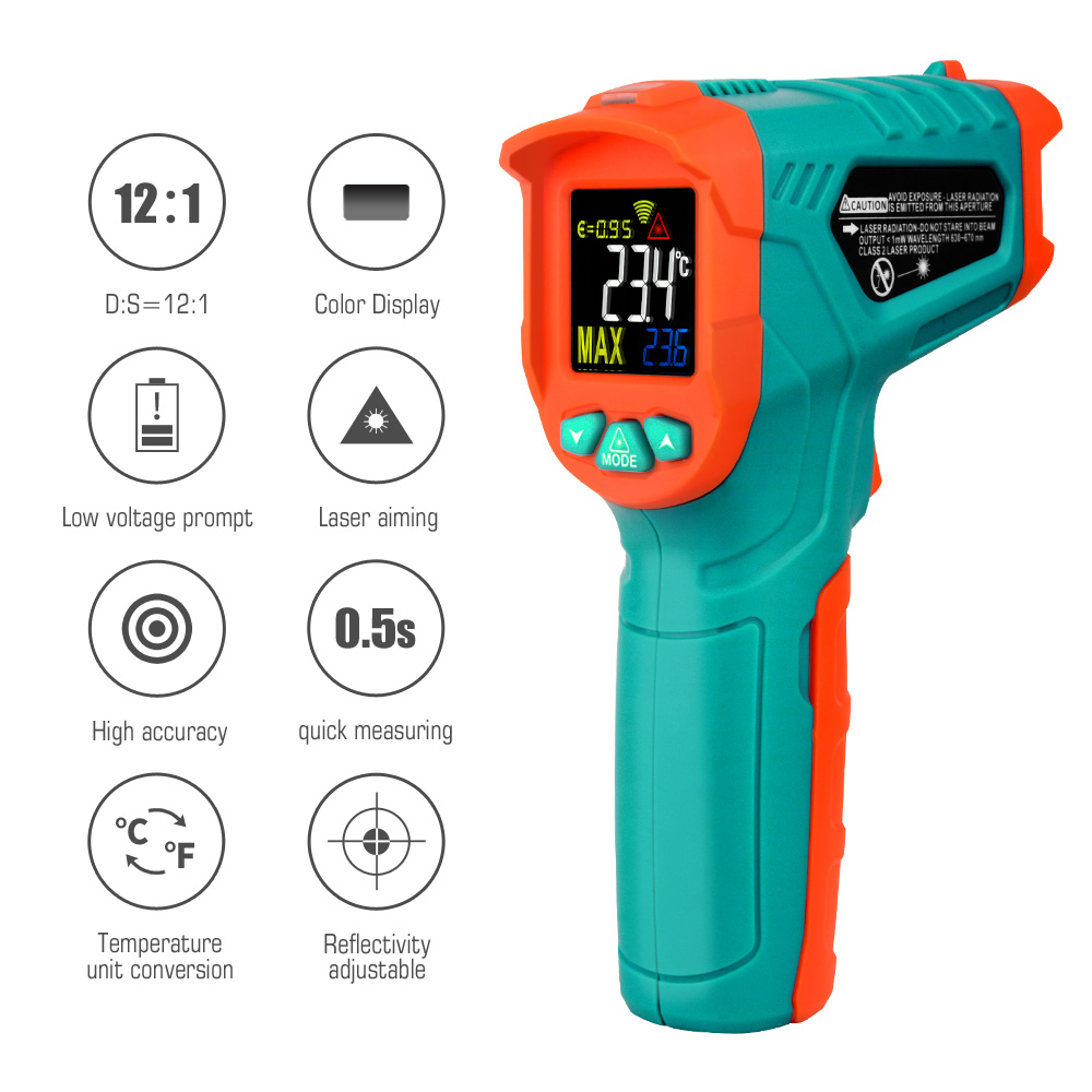 Image 2 - Бесконтактный цифровой термометр Mileseey с ЖК дисплеем, лазерный  цифровой термометр, ИК цифровой инфракрасный термометрПриборы для  измерения температуры   -