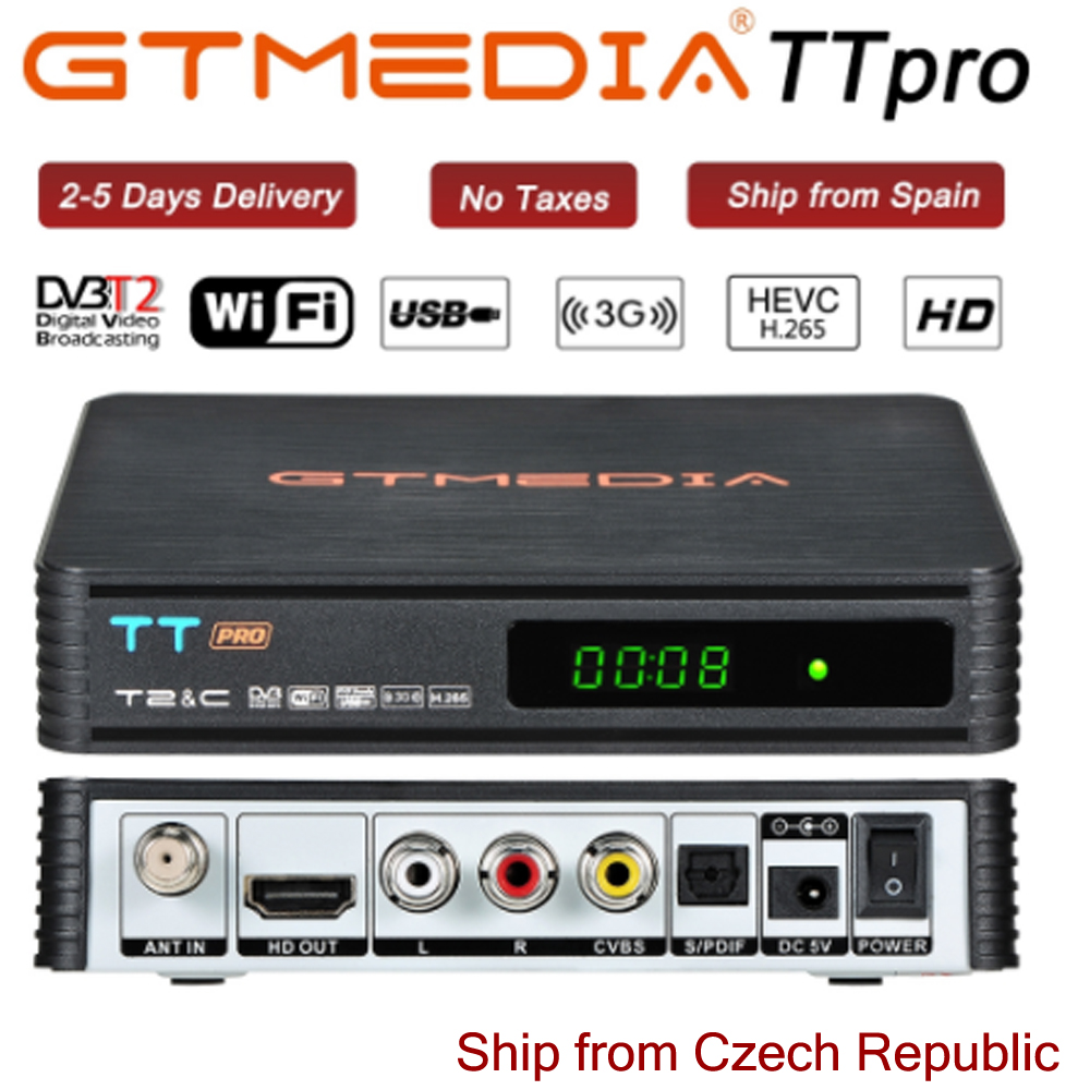 GTMEDIA TT Pro DVB-T2/T DVB-C TV Combo Receiver Support H.265 HD 1080P CCCAM Cline For Spain Poland Czech Republic Russian DVBT2