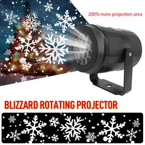 Merry Christmas Snowflake Projector Lights 4W Rotating LED Stage Lighting Effect Home Party Indoor Lighting Lights for New Year