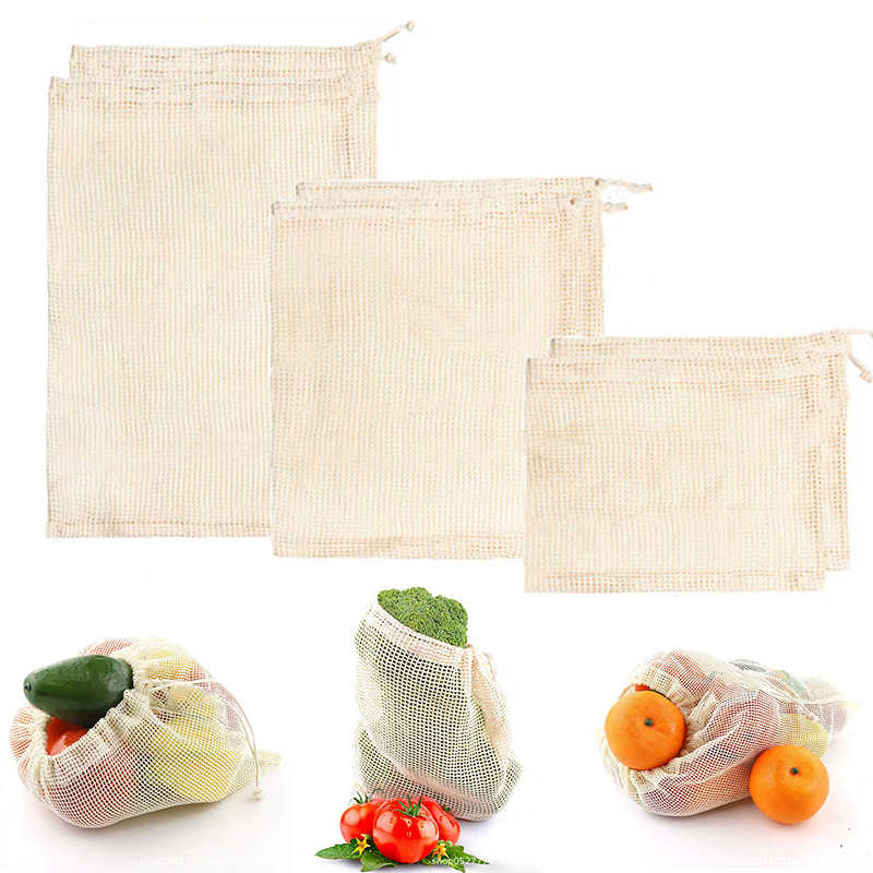 Eco Vegetable Reusable Bag Cotton Mesh Bags Produce Bag for Kitchen Fruit Vegetable Bags Reusable Cotton Shopping Bag