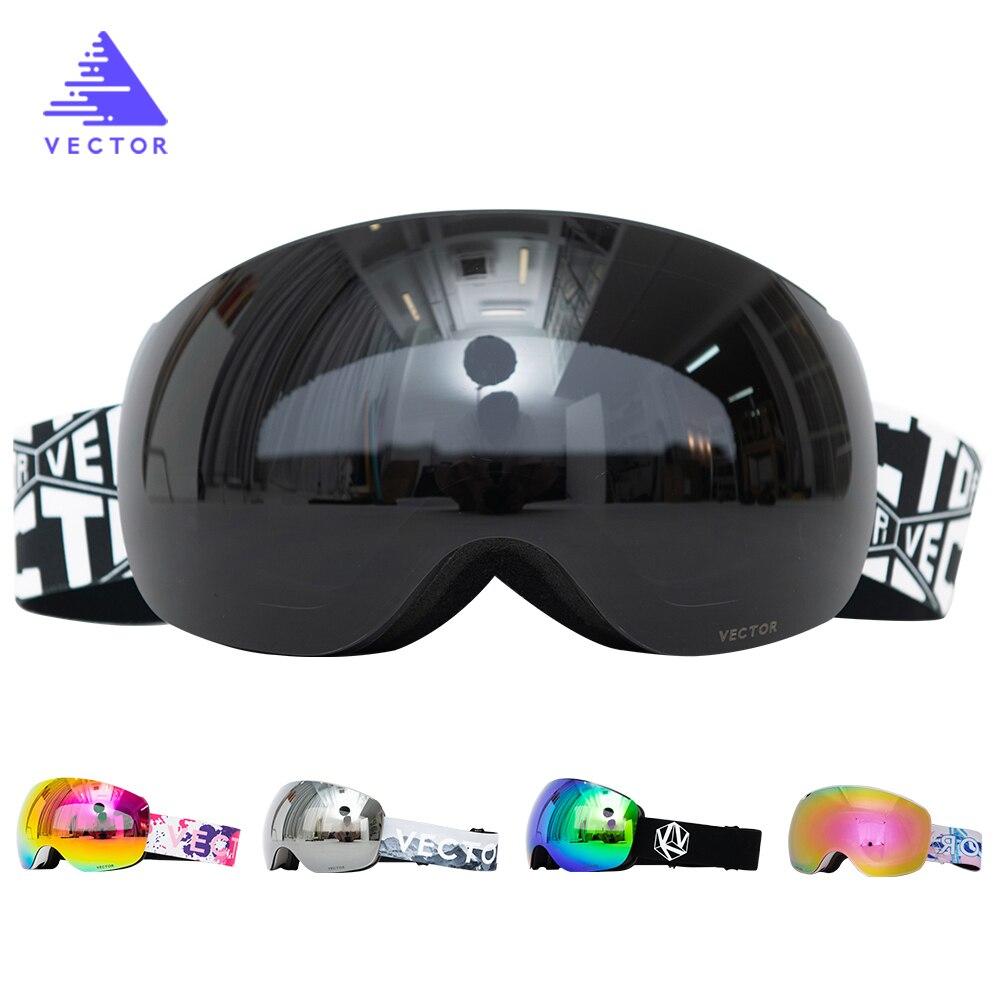 Vector Magnets OTG Ski Goggles Spherical Wide View Sunglasses Snow Glasses Anti-fog Interchangeable Lens