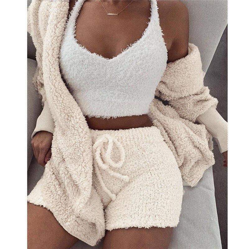 Coat Outfits Outwear Cardigan Shorts Long-Sleeve Plush Women Casual Three-Piece-Set Vest