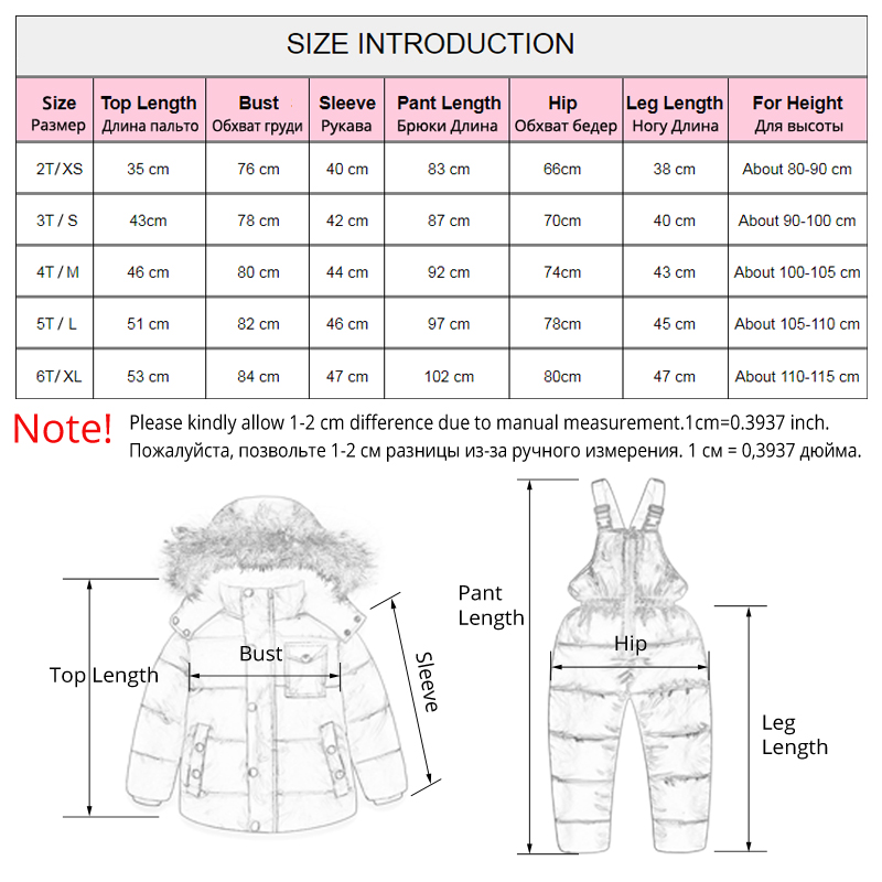 IYEAL  Russia Winter Children Clothing Set for Infant Boys Down Cotton Coat +Jumpsuit Windproof Ski Suit Kids Baby Clothes 6