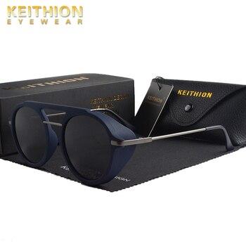 KEITHION Men Vintage SteamPunk Round Style TR90 Polarized Sunglasses Side Shield Punk Brand Design Sun Glasses UV400