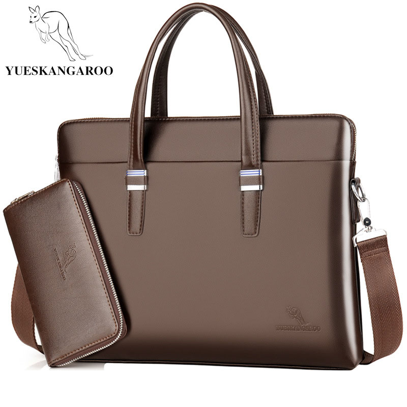 YUESKANGARO Fashion Shoulder Bag Men Briefcase A4 PU Leather Men Bags Business Laptop Tote Luxury Brand Male Briefcases Handbags