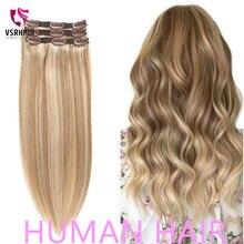 VSR 3 uds. Extensiones de cabello humano, 60g, 100g, 120g, máquina Remy 100%, extensión de cabello con Clip, fácil de usar