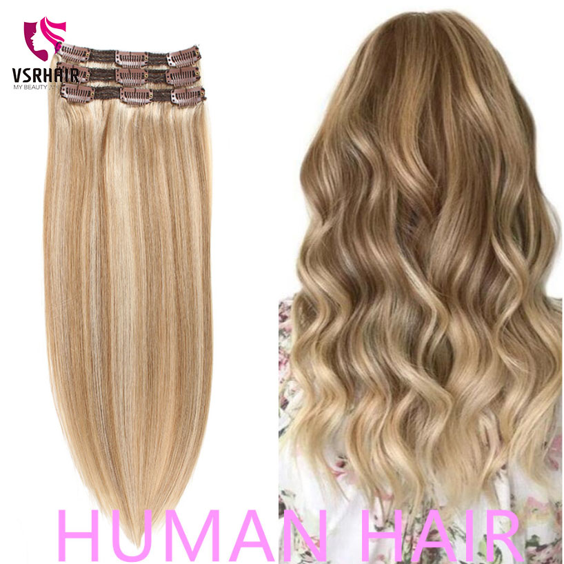 VSR 60g 100g 120g Machine Remy Clip In Extension Hair Hair Human Hair Extensions Hair Easy Do Style 3pcs Clip Hair Extensions