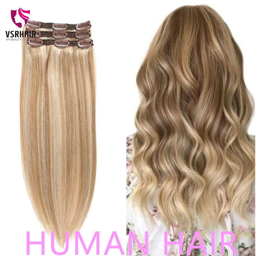 VSR 60g 100g 120g máquina Remy Clip en extensión extensiones de cabello humano extensiones de cabello estilo fácil de hacer 3 uds Clip extensiones de cabello