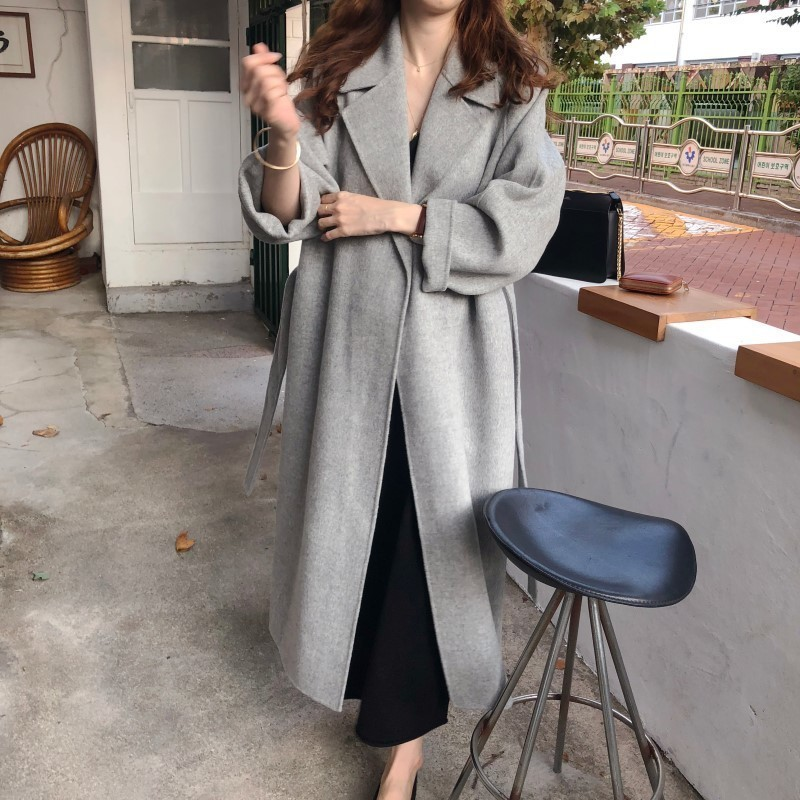 Winter Fashion Coats Women Wool-blend Coat Lazy Oaf Long Chunky Warm Coat Western Style Fitted Waist Lace-up  Loose Coat