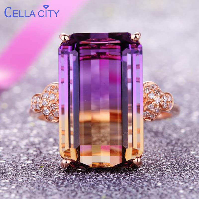Cellacity Luxury 925 Silver Ring Jewelry With Rectangle Tourmaline Gemstone Engagement Wedding Party Jewelry Anniversary