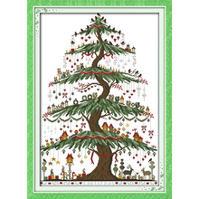 Everlasting love Christmas tree (2) Ecological cotton Chinese cross stitch kits counted stamped 14 CT  11 CT new sales promotion everlasting love the beach path among the flowers chinese cross stitch kits ecological cotton stamped 11 ct new sales promotion